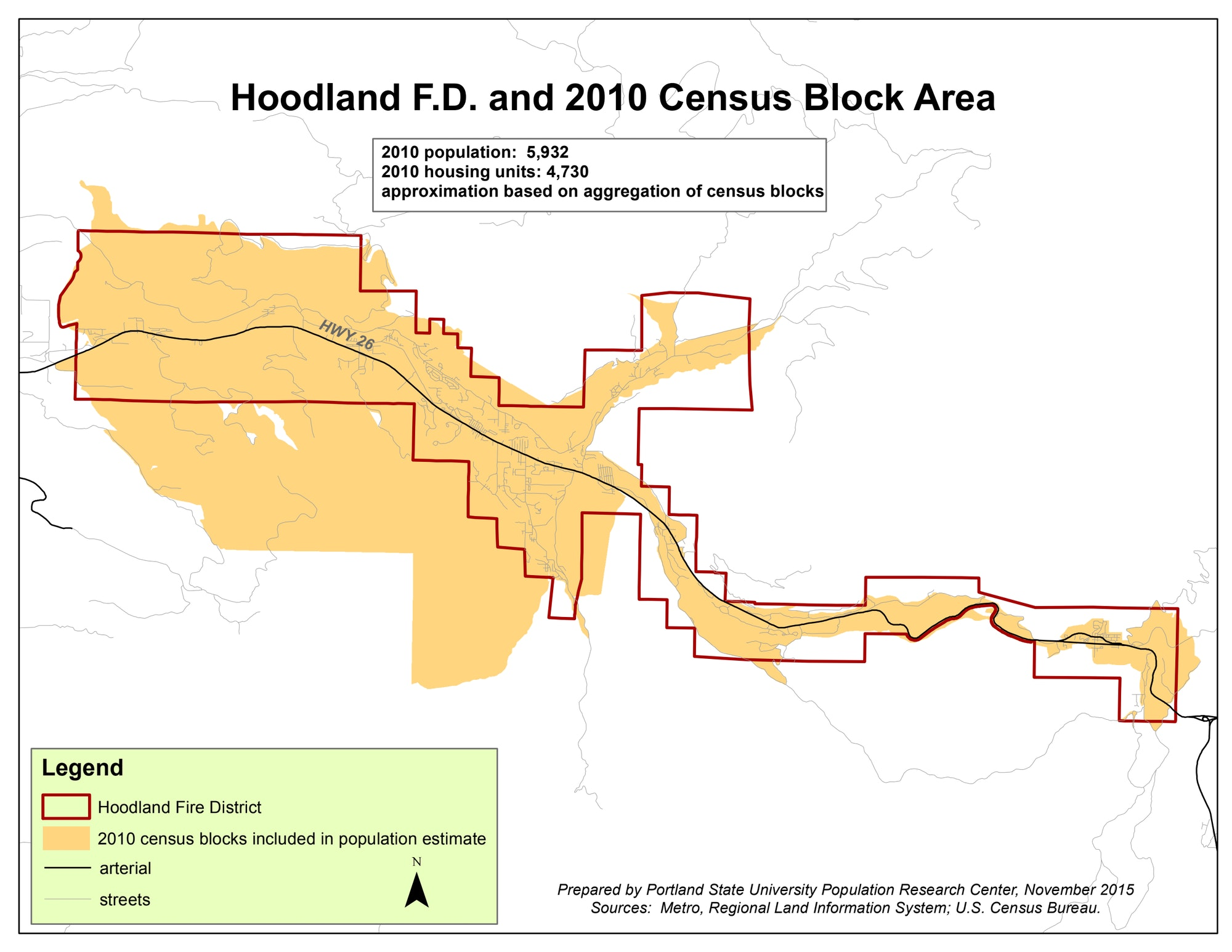 As of the 2010 U.S. Census, there were approximately 6,000 full-time residents in the area served by the Hoodland Fire District.