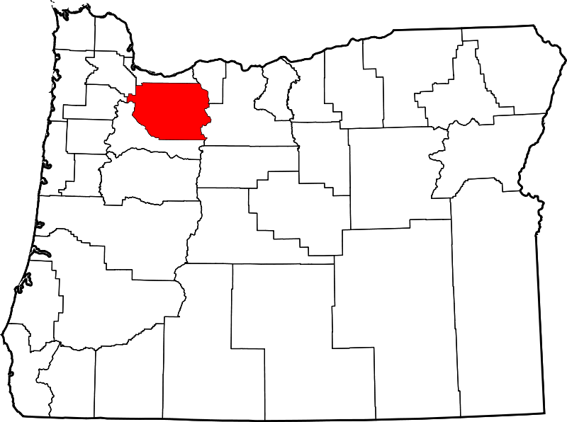 Contains: Map of Oregon with Clackamas County Highlighted in Red.