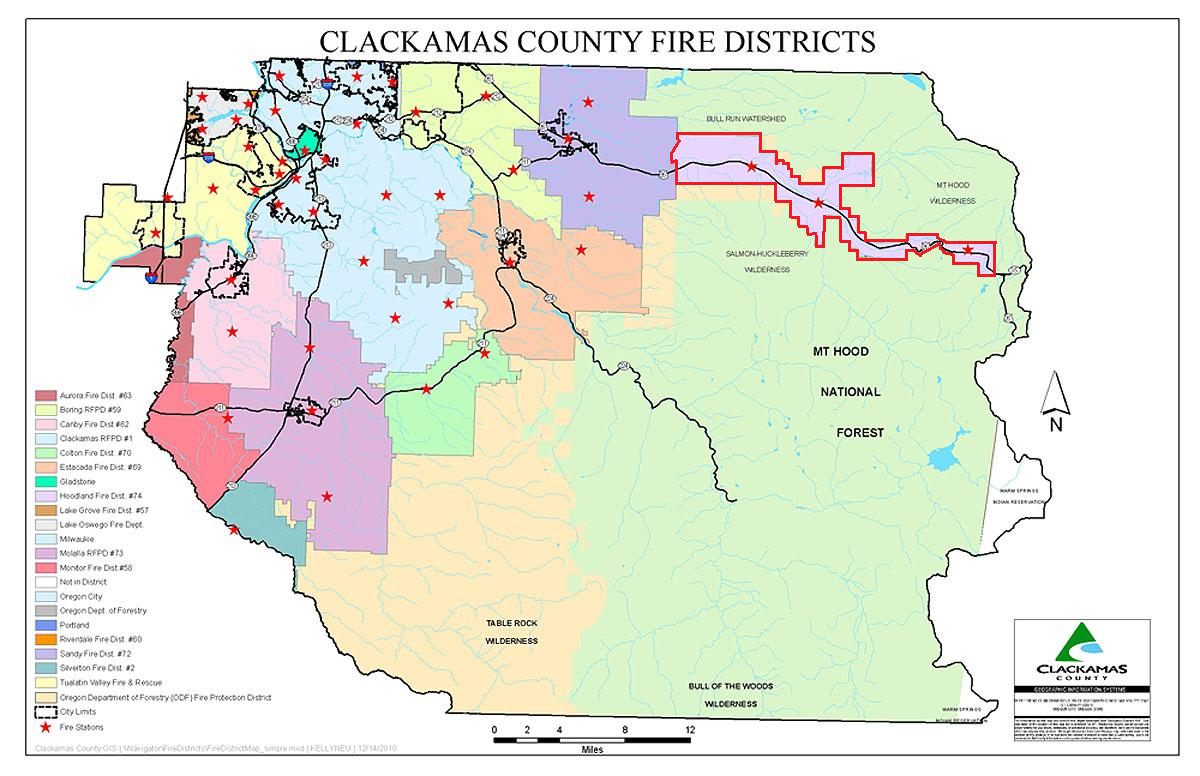 Contains: Map of Clackamas County Fire with the fire districts outlined.  Hoodland Fire District #74 (outlined in red) is the easternmost fire district in Clackamas County.  Our response area. is approximately 45-square-miles and runs Highway 26 from near mile post 32, east of Baty Road, to near Mile Post 57, east of Snow Bunny.