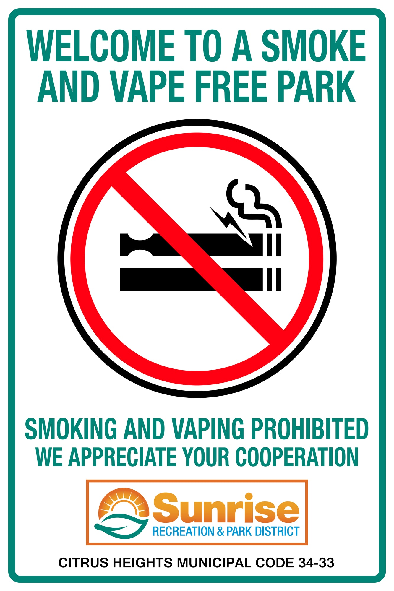 No Smoking or Vaping in Citrus Heights Parks