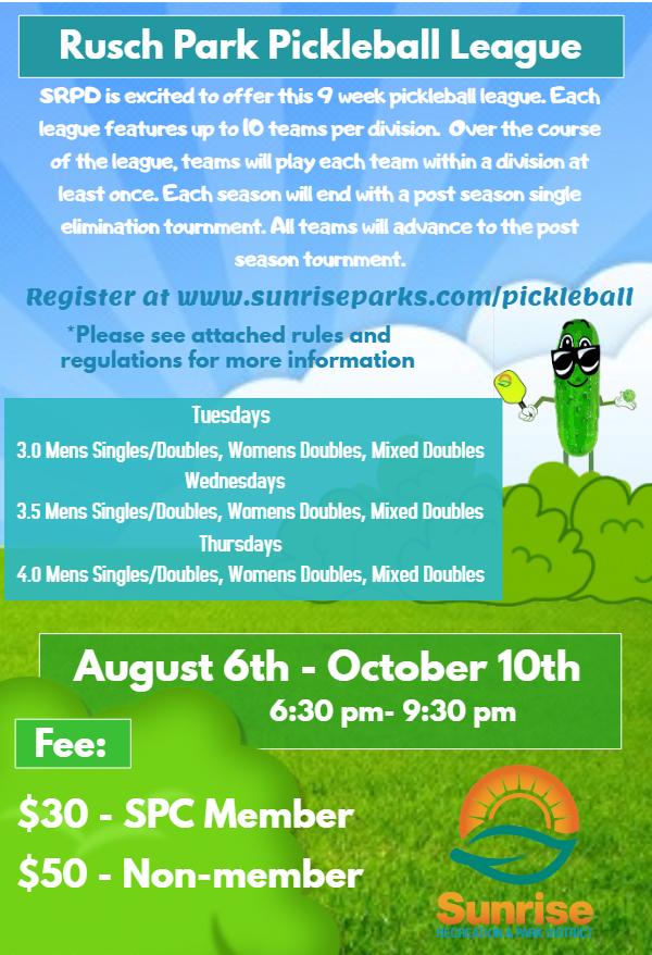 Rusch Park Pickleball League - Sunrise Recreation and Park District