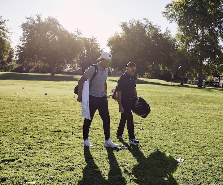 Cameron Champ and Sean Foley at Foothill Golf Course