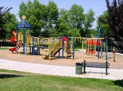 May contain: play area, playground, gate, grass, and plant
