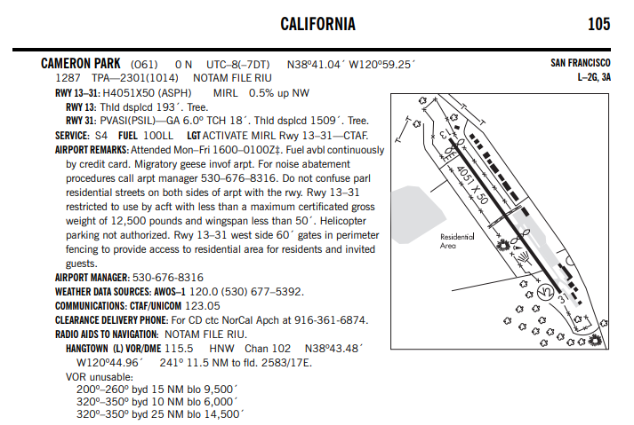 Written description of the Cameron Park Airport as found in the FAA Airport Chart Supplement.