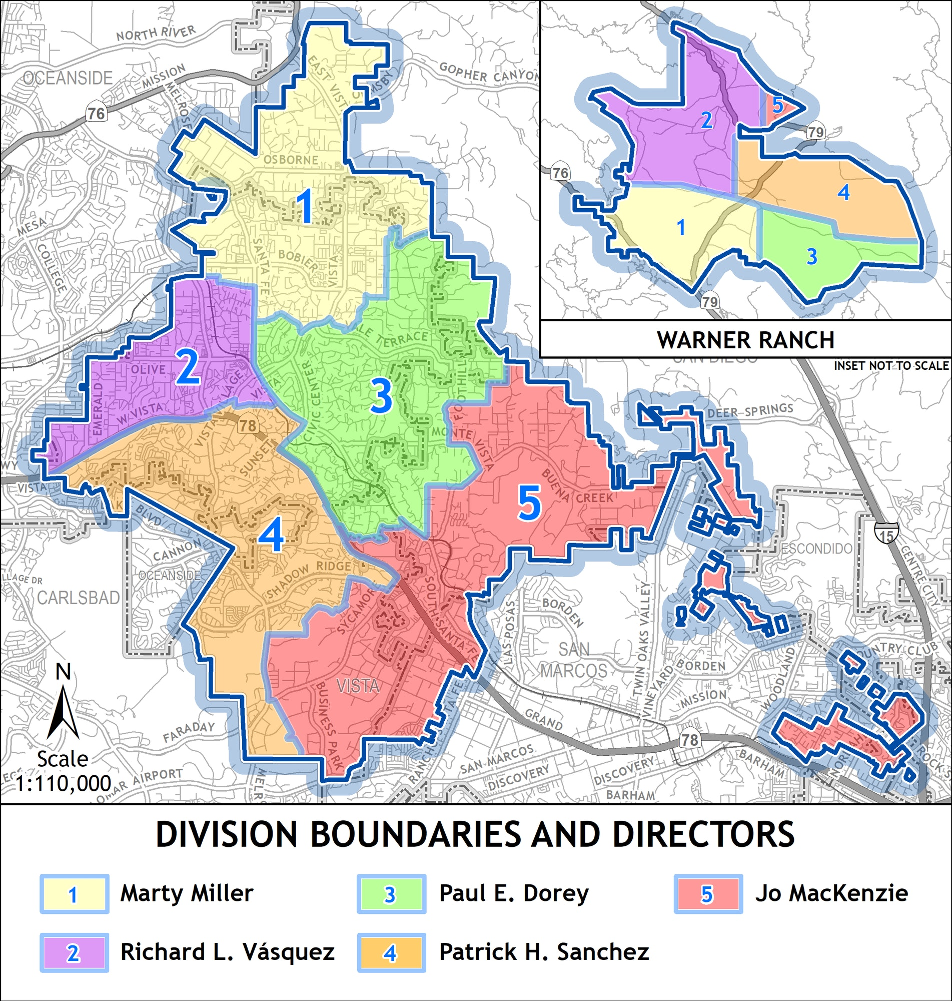 Map of service area identifying division boundaries and directors.