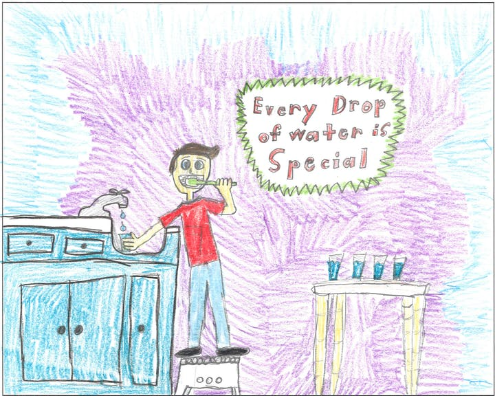 """4th Grade Poster Contest winner showing boy brushing teet with slogan """"Every Drop of Water is Special."""""""