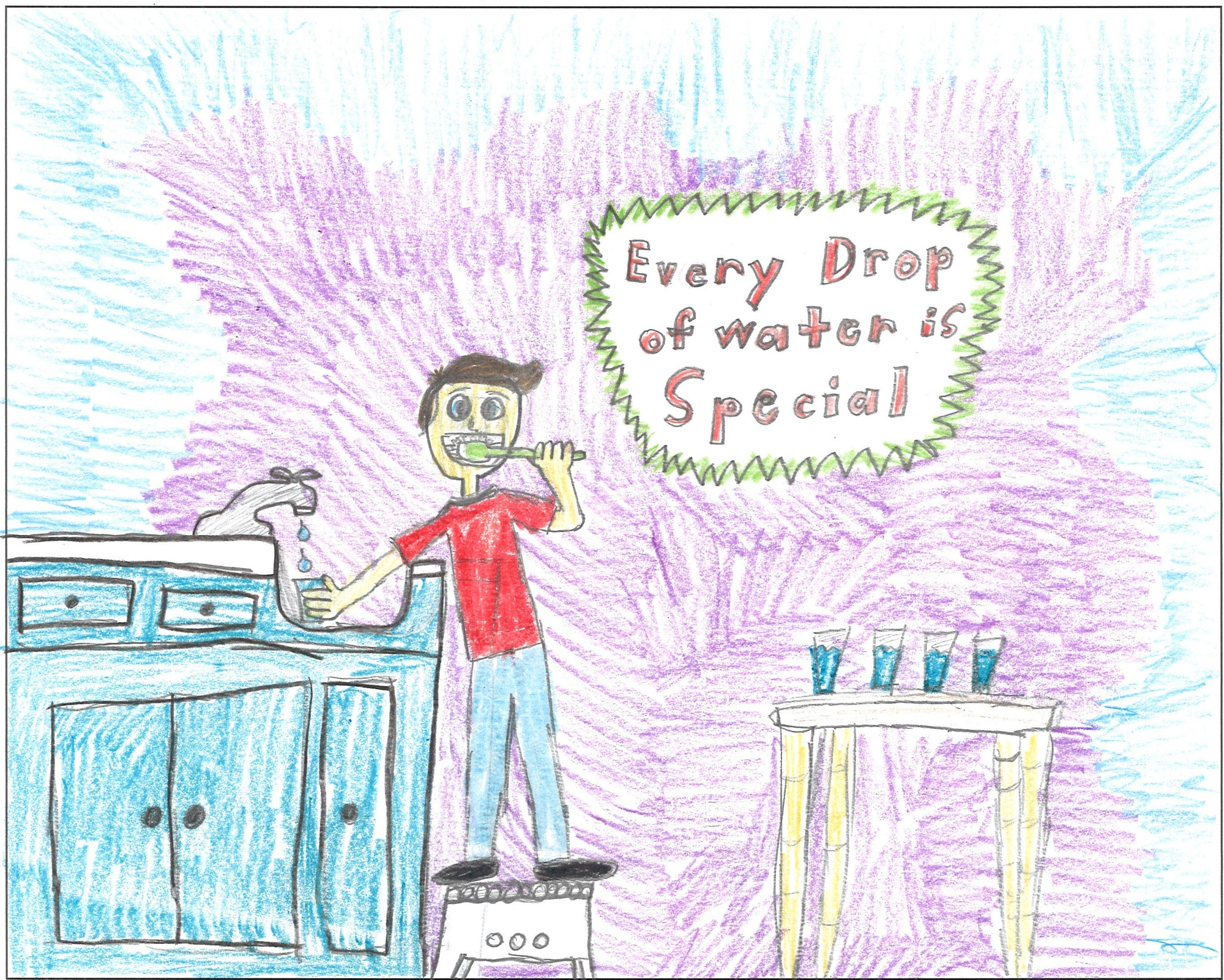 "4th Grade Poster Contest winner showing boy brushing teet with slogan ""Every Drop of Water is Special."""