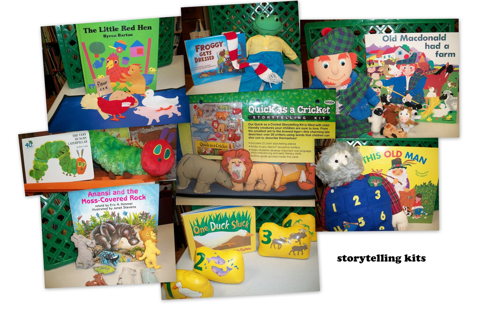 photo of some of the felt or velcro storytelling kits available from Take Off! program