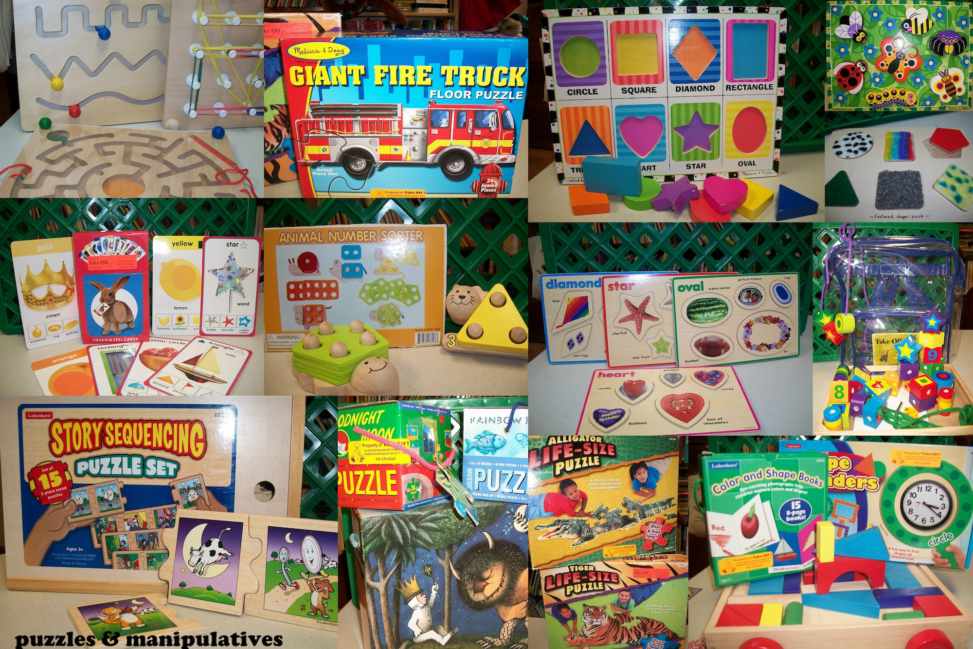 photo of some of the puzzles & manipulatives available from Take Off! program