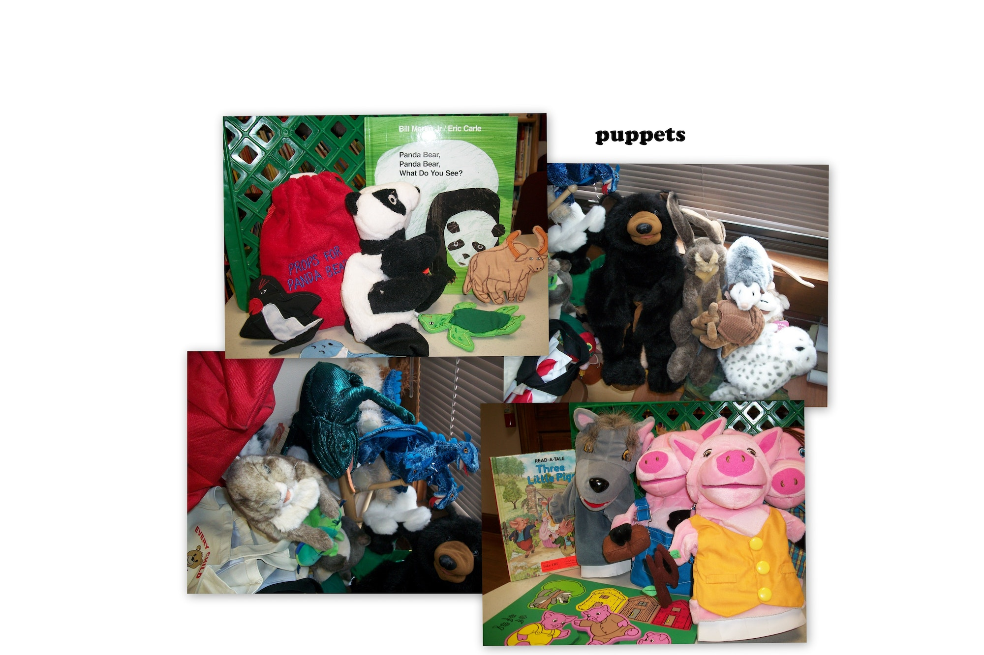 photo of some of the available puppets from Take Off! program