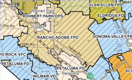 Rohnert Park Fire Map.Service Area Map Rancho Adobe Fire Protection District