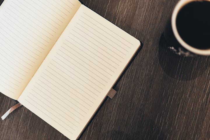 a book and coffee cup