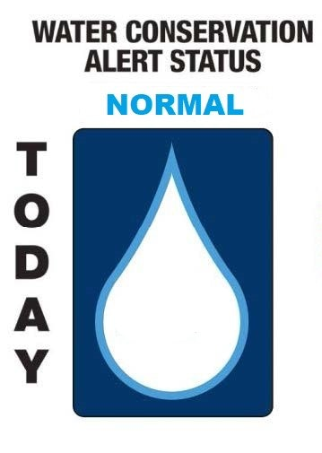 Water Conservation Alert Status Today is Normal, Color Code Blue