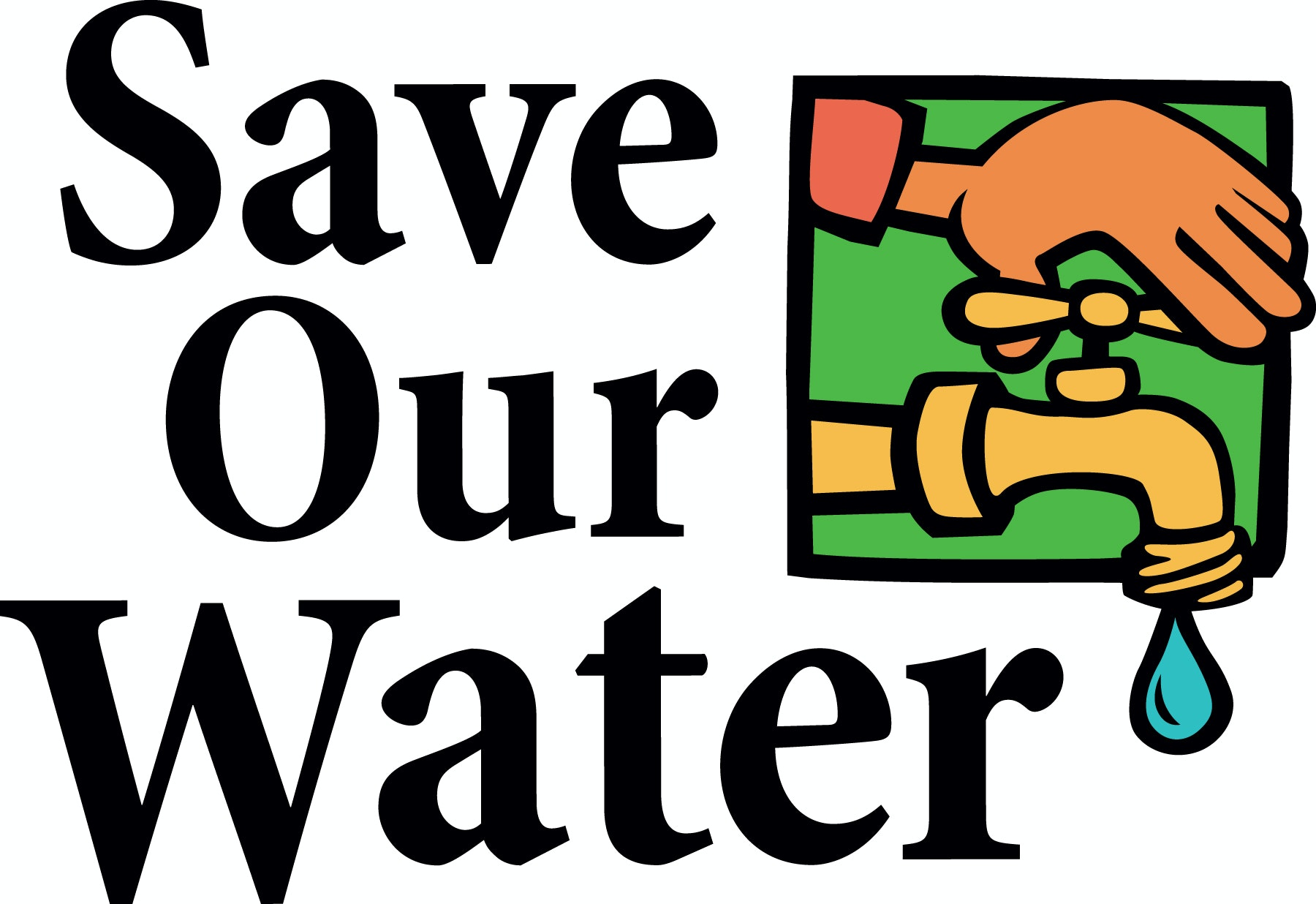 Save our water: pictue of hand turning off faucet
