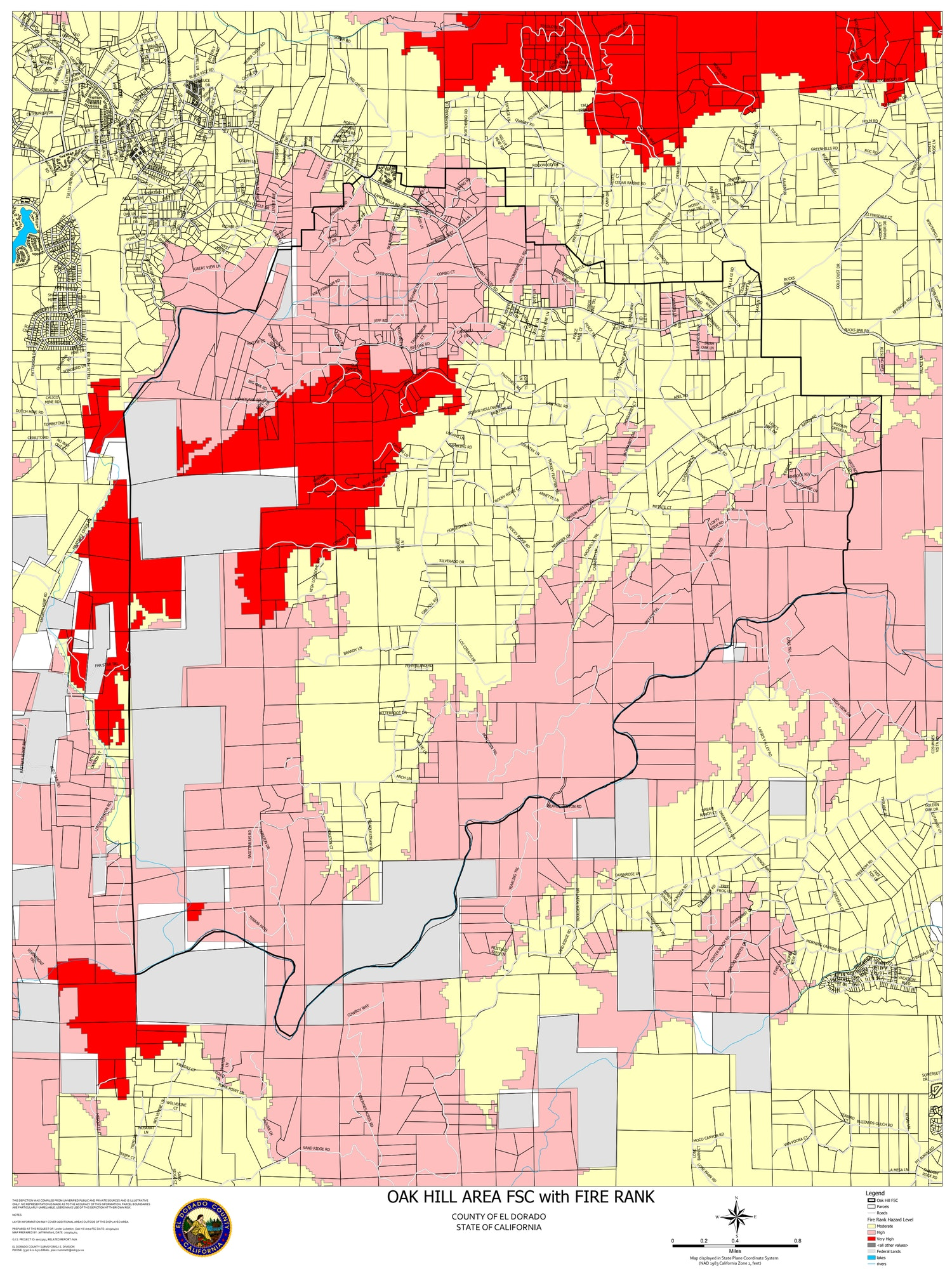 Map showing Fire Hazard Severity levels in the Oak Hill Area Fire Safe Council