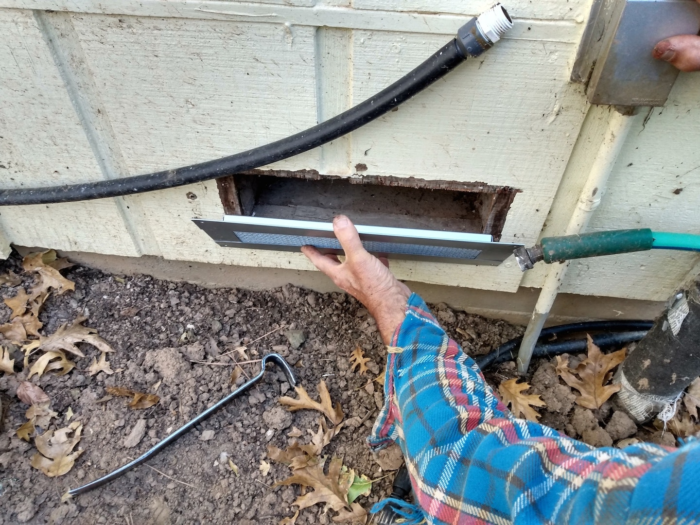 Replacing a foundation vent with a new, fire safe vent