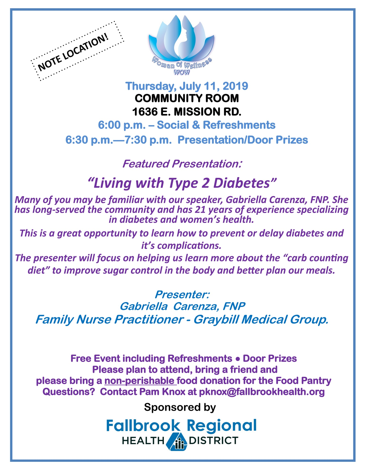 "Presented by: Gabriella Carenza, Family Nurse Practitioner - Graybill Medical Group. Many of you may be familiar with our speaker, Gabriella Carenza, FNP. She has long-served the community and has 21 years of experience specializing in diabetes and women's health. This is a great opportunity to learn how to prevent or delay diabetes and it's complications. The presenter will focus on helping us learn more about the ""carb counting diet"" to improve sugar control in the body and better plan our meals."