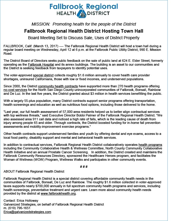 Press Releases Fallbrook Regional Health District