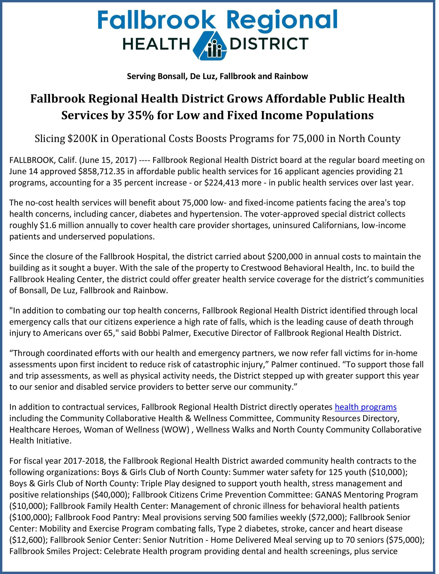 Press releases fallbrook regional health district press release 06 15 2017 fallbrook regional health district grows affordablepdf fandeluxe Images