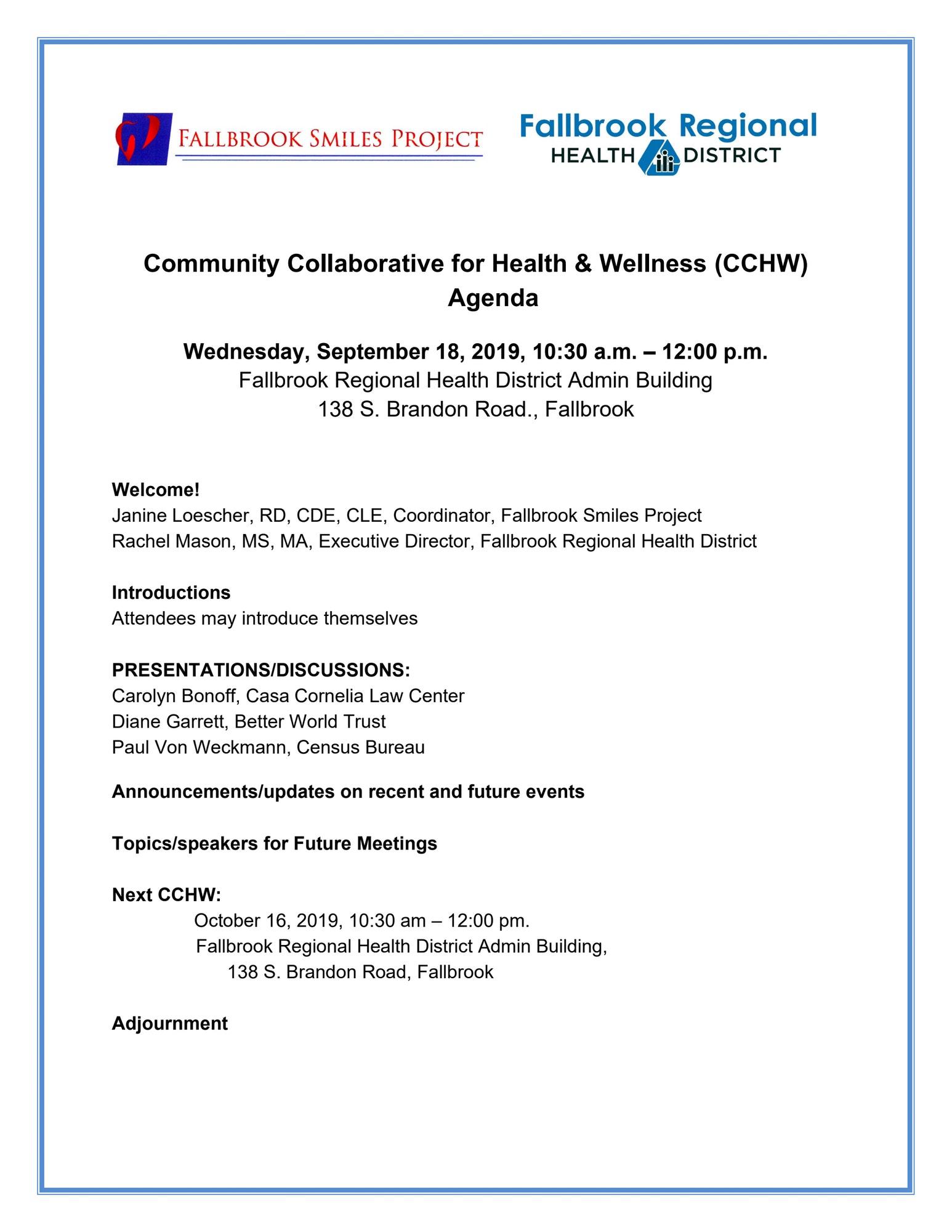 Community Collaborative for Health & Wellness Agenda for September 18, 10:30am-12pm