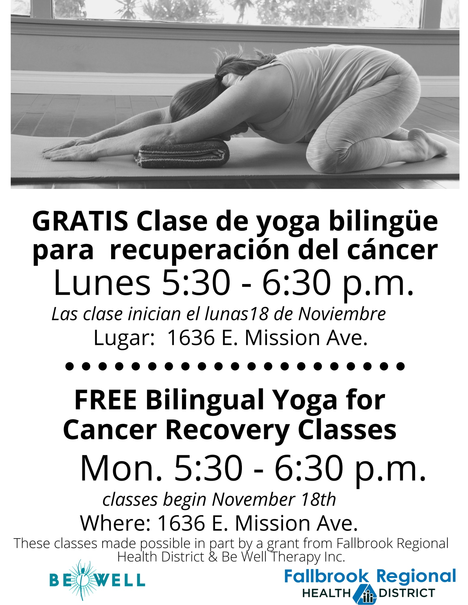 Woman in extended child's pose. free bilingual yoga for cancer recovery classes, Mondays 5:30pm-6:30pm at 1636 E. Mission Rd. bilingue clases gratis de yoga para recupracion del cancer, lunes 5:30pm-6:30pm, 1636 E. Mission Rd.