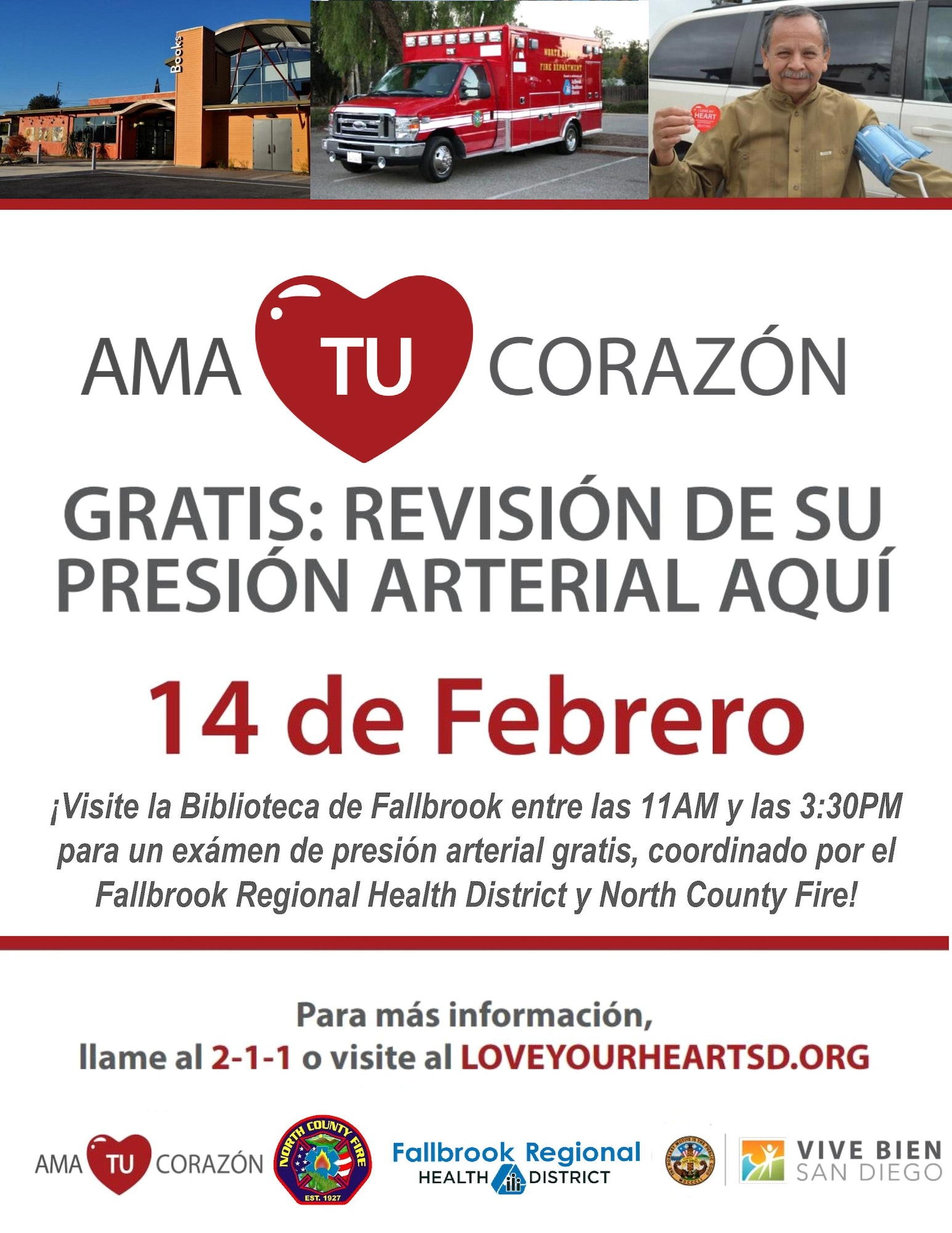 bolante del ama tu corazon evento. fallbrook regional health district y North County Fire ofreceran examenes de presión arterial gratis  el viernes 14 de febrero 11am-3:30pm