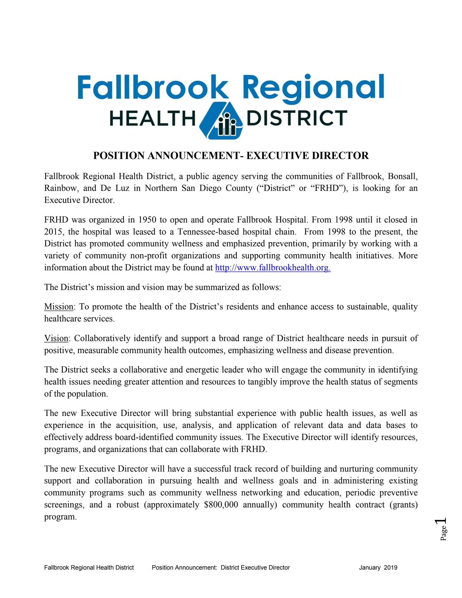 Announcements - Fallbrook Regional Health District