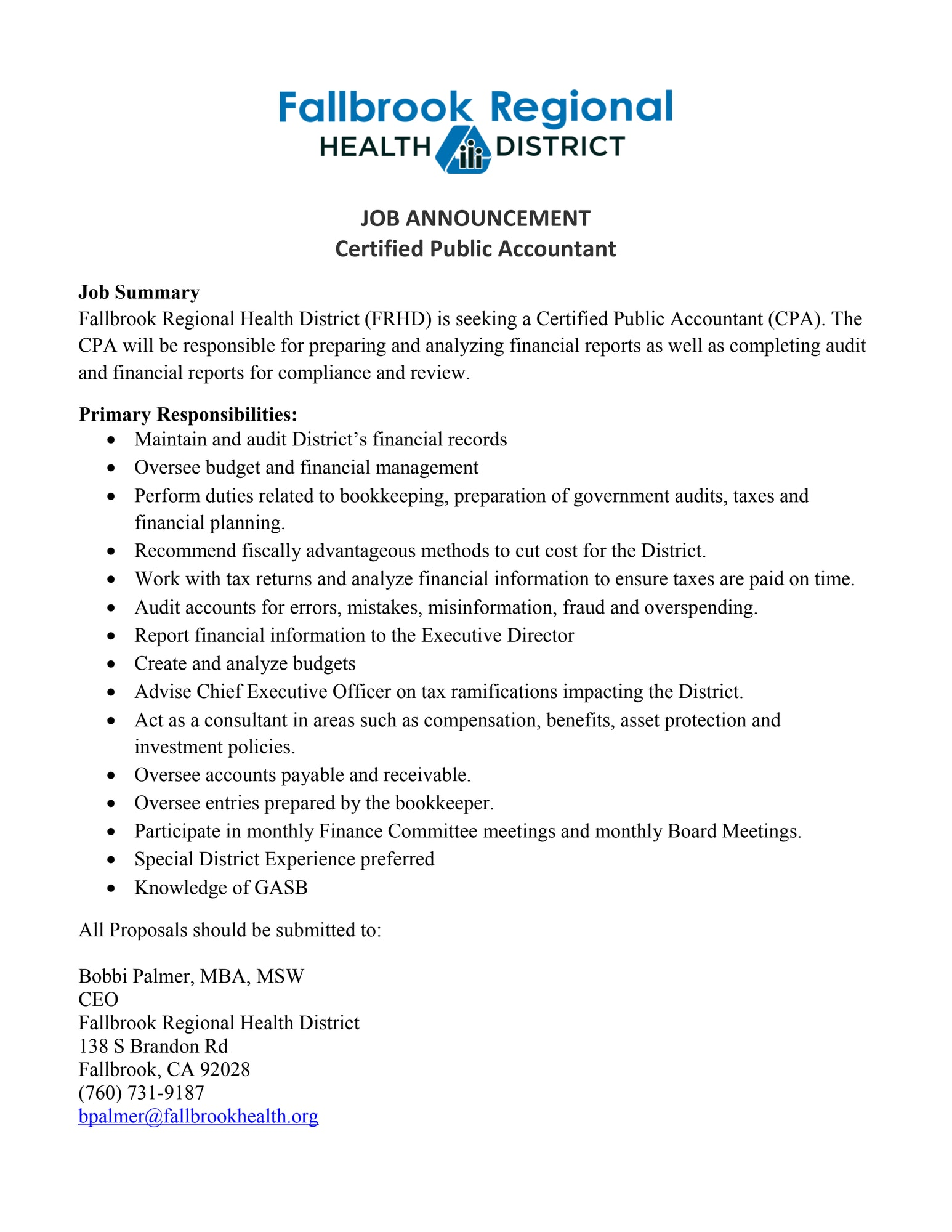 Press Releases - Fallbrook Regional Health District