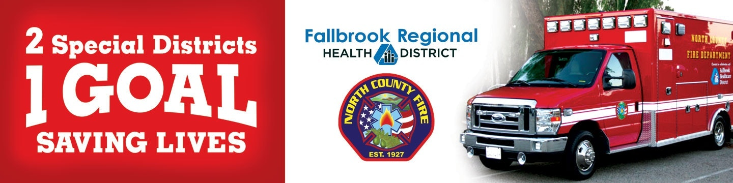Banner with three sections: 2 Special Districts, 1 Goal, Saving Lives; two logos; and ambulance