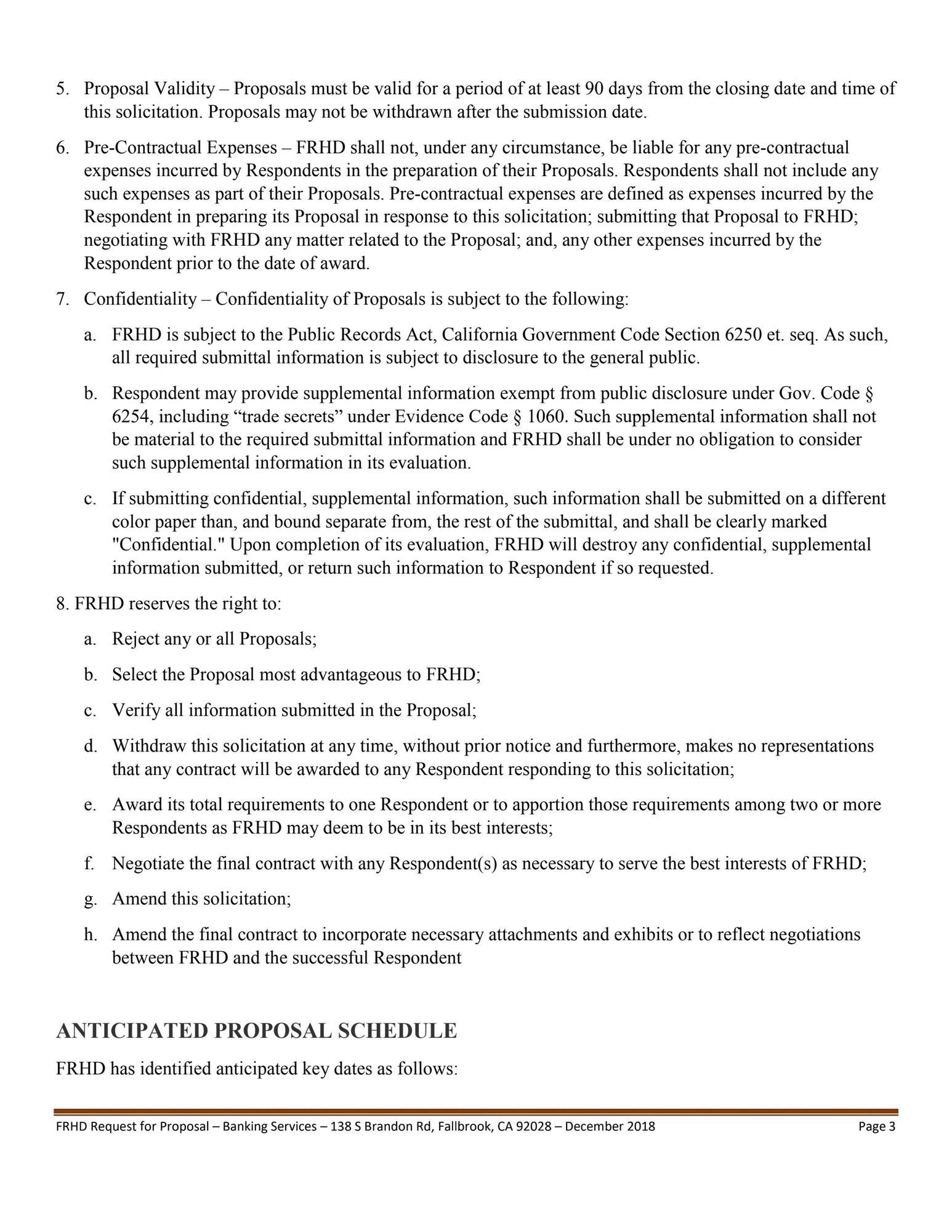 Request for Proposal (RFP) Banking Services - Fallbrook