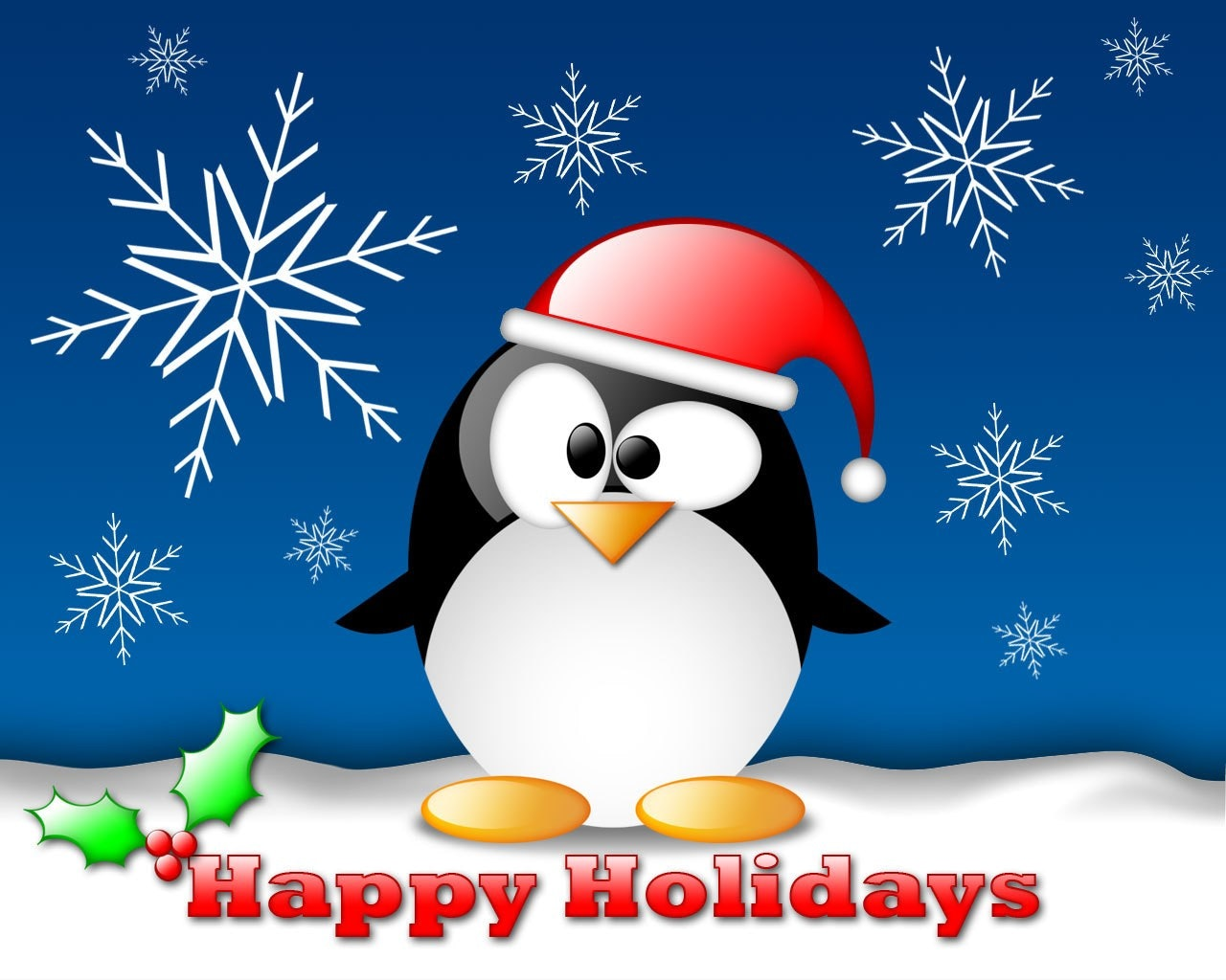 Cartoon penguin outdoors in snow with Happy Holidays greeting
