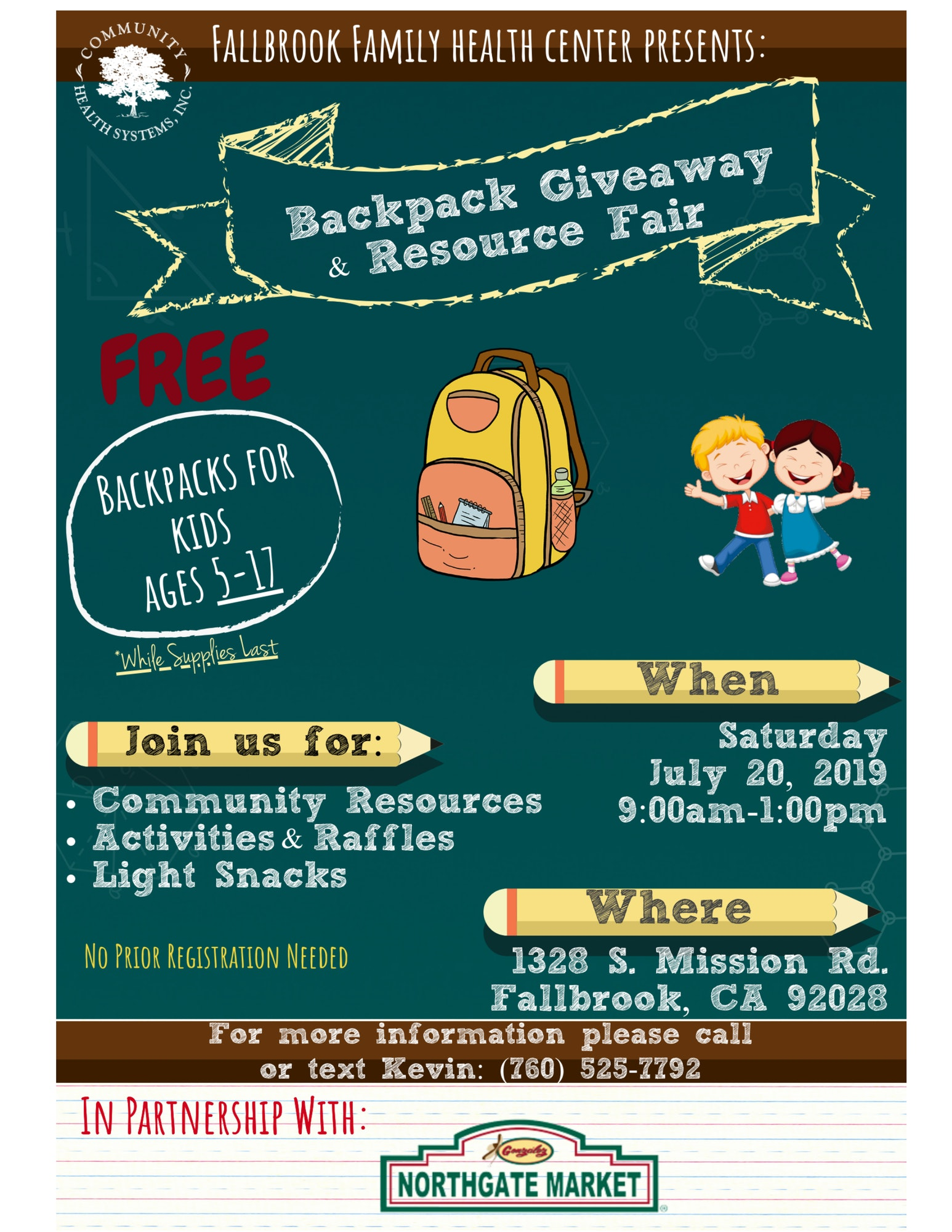Backpack giveaway. 9am-1pm. Community resouces, activities, raffles, light snacks. 1328 S. Mission Rd., Fallbrook.