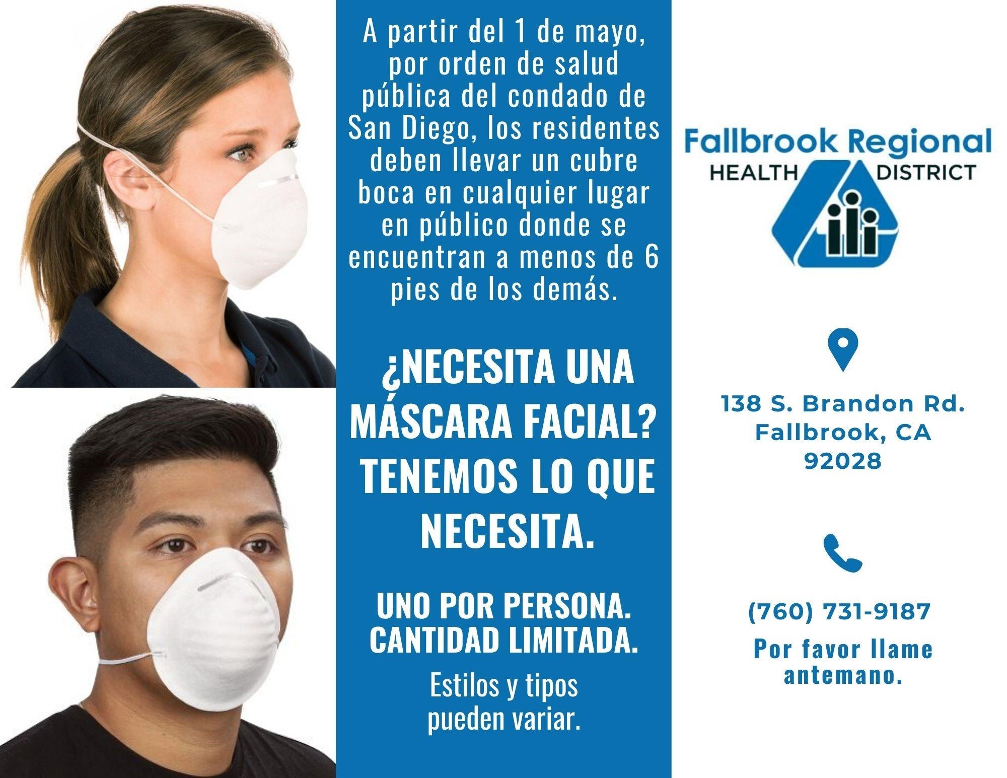 do personas con cubre bocas. anuncio de mascaras faciales gratis. uno por persona. llama al 7607319187, recoger al domicilio 138 S. Brandon Rd., Fallbrook