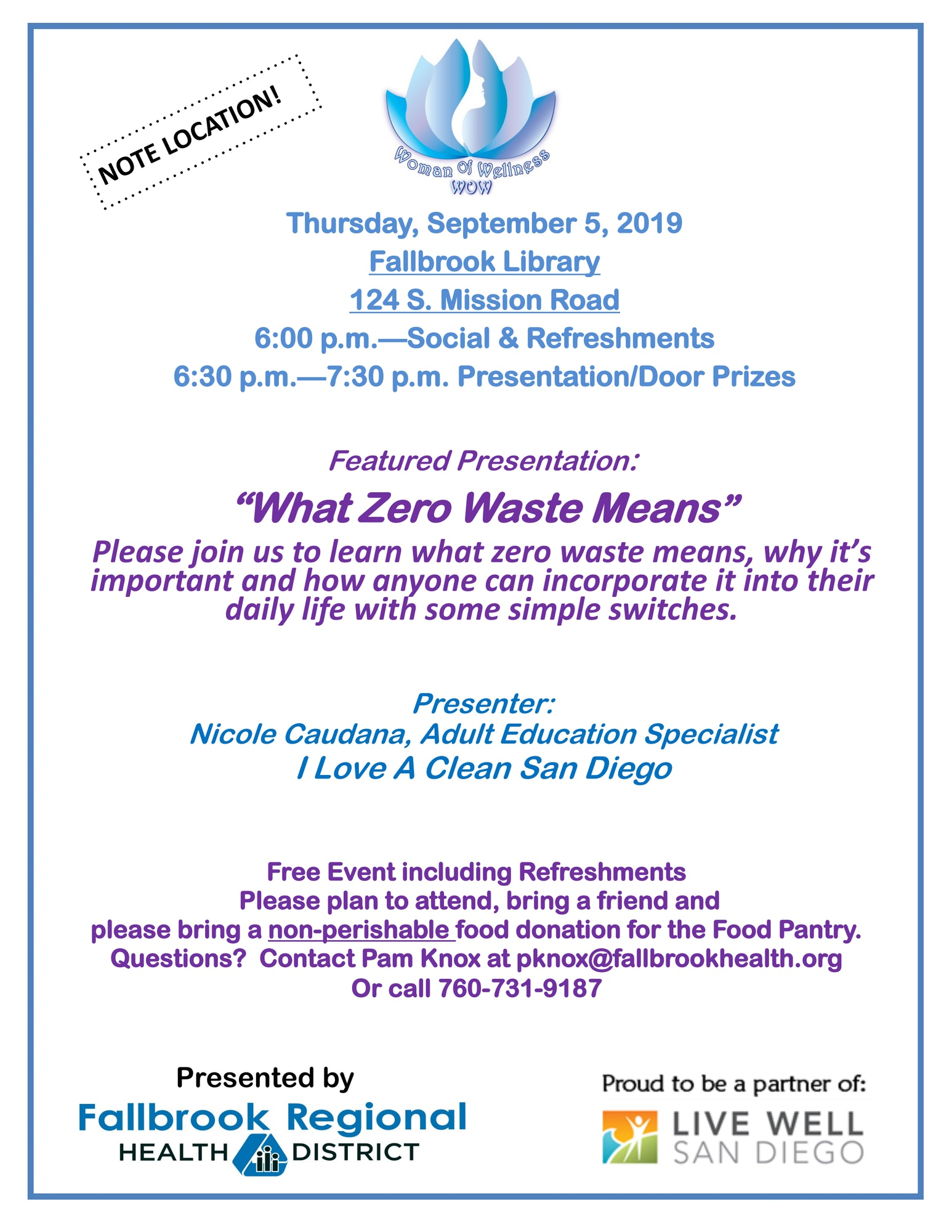 What Zero Waste Means at the Fallbrook Library, 124 S. Mission Rd. at 6:00pm