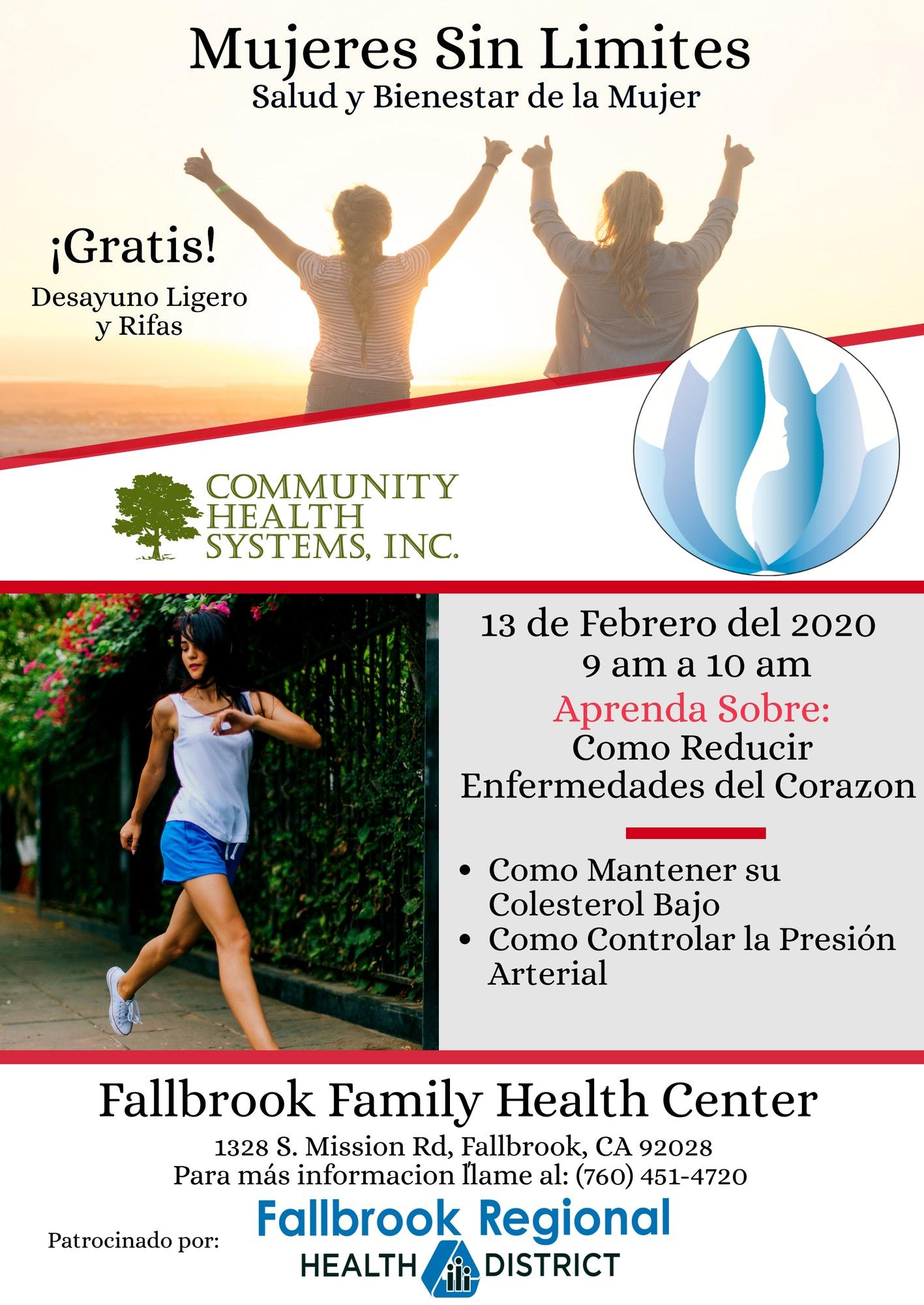 Anuncio de Mujeres Sin Limites evento: 13 de febrero, 9am-10am. Aprenda sobre como reducir enfermedades del corazon. 1328 S. Mission Rd., Fallbrook