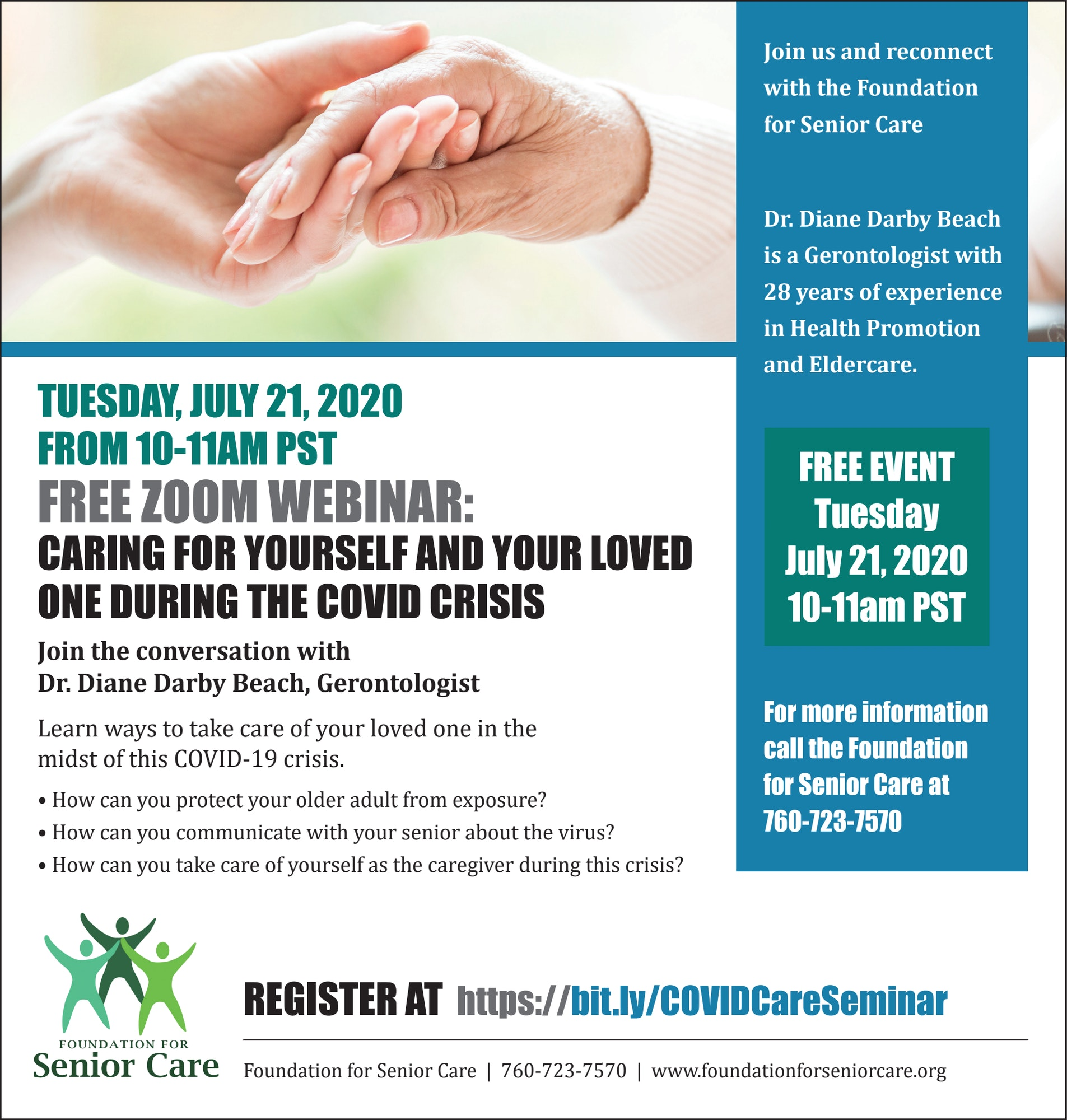 Tuesday July 21, 10am-11am caring for yourself and your loved one during the COVID crisis zoom meeting register at https://bit.ly/COVIDCareSeminar