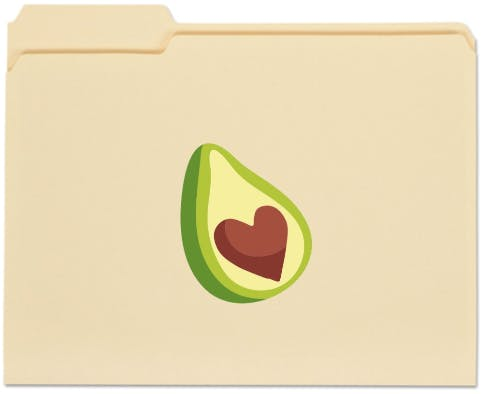 Drawing of file folder with an avocado and heart shaped pit.