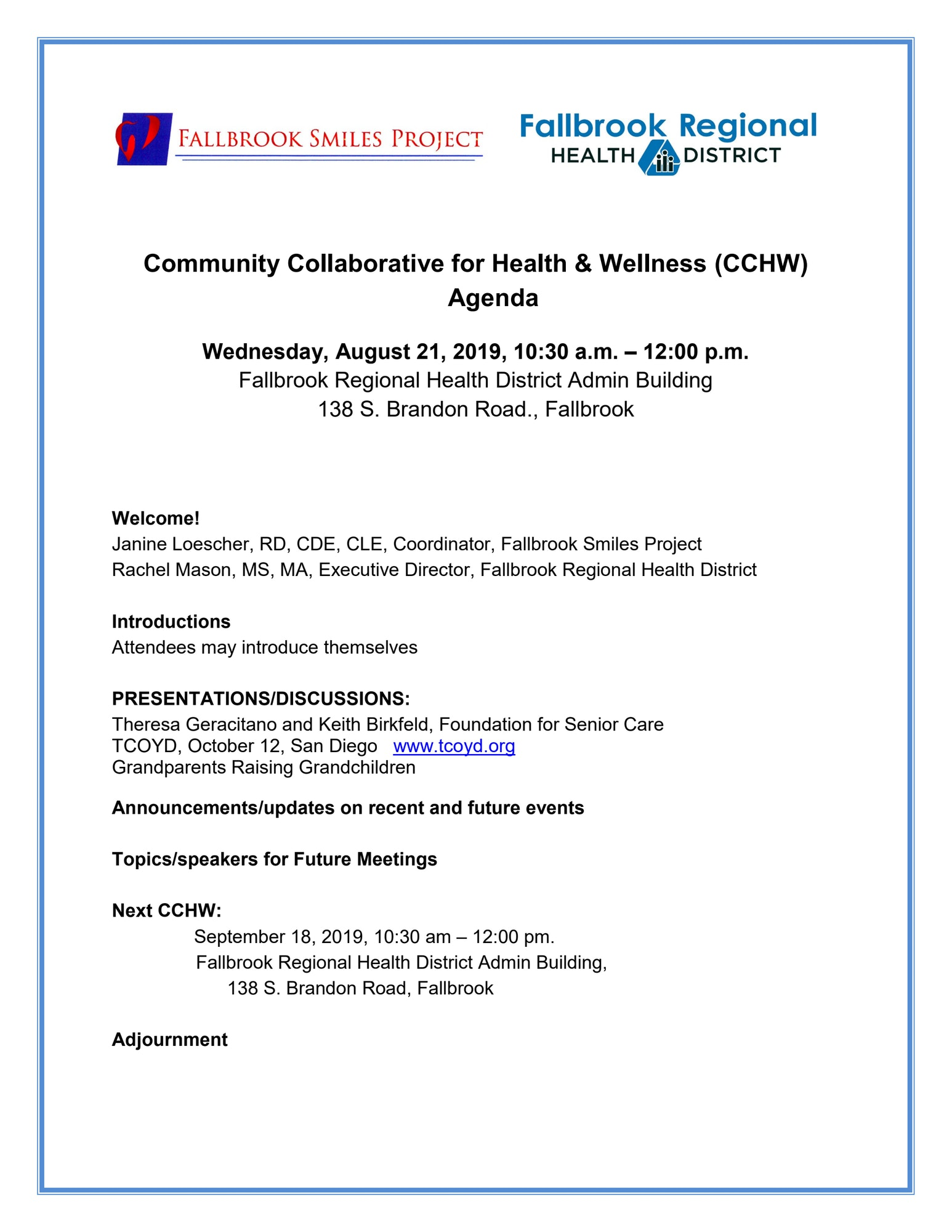 Announcements - Fallbrook Regional Health District