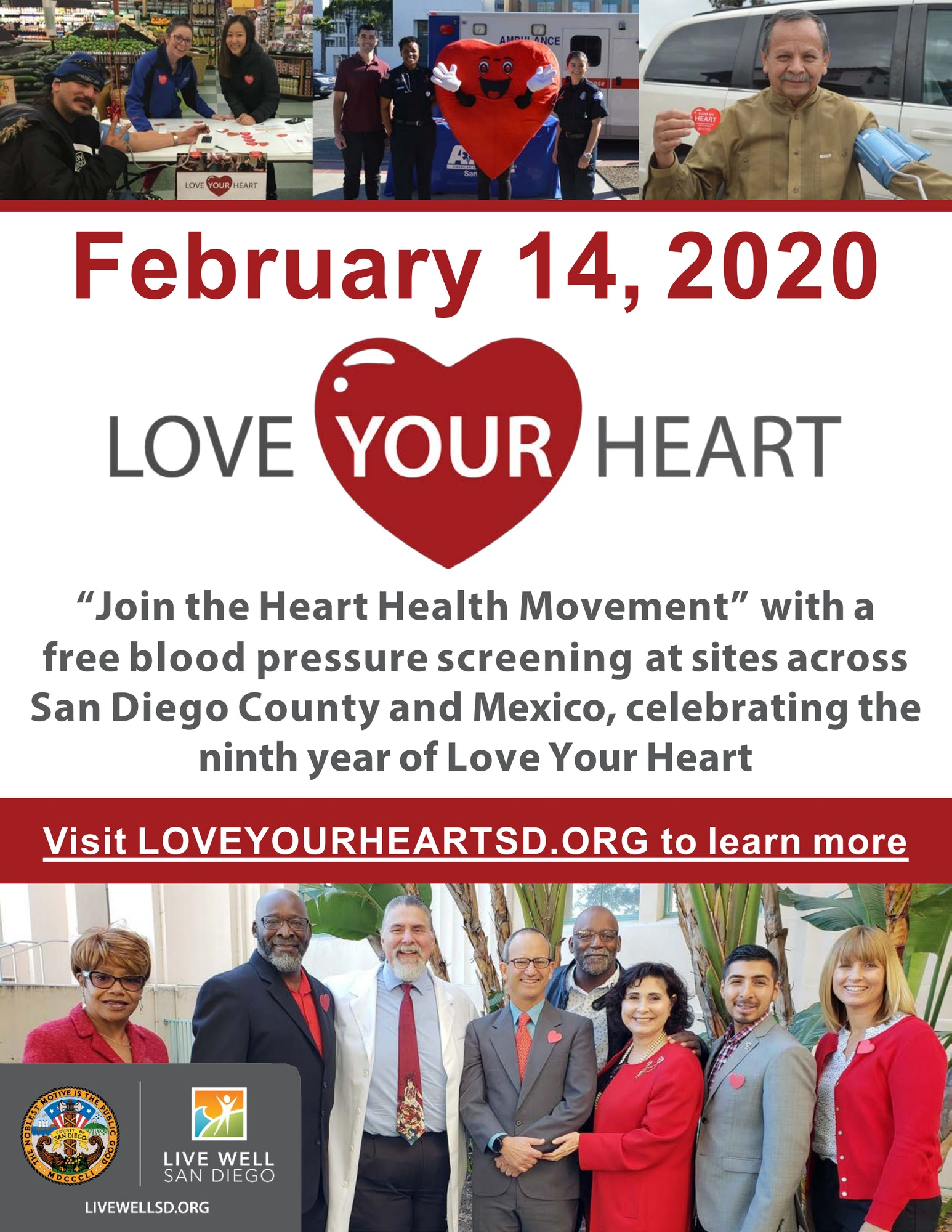 Announcement of Feb 14, 2020 Live Well San Diego Love Your Heart Event. visit loveyourheartsd.org for more information