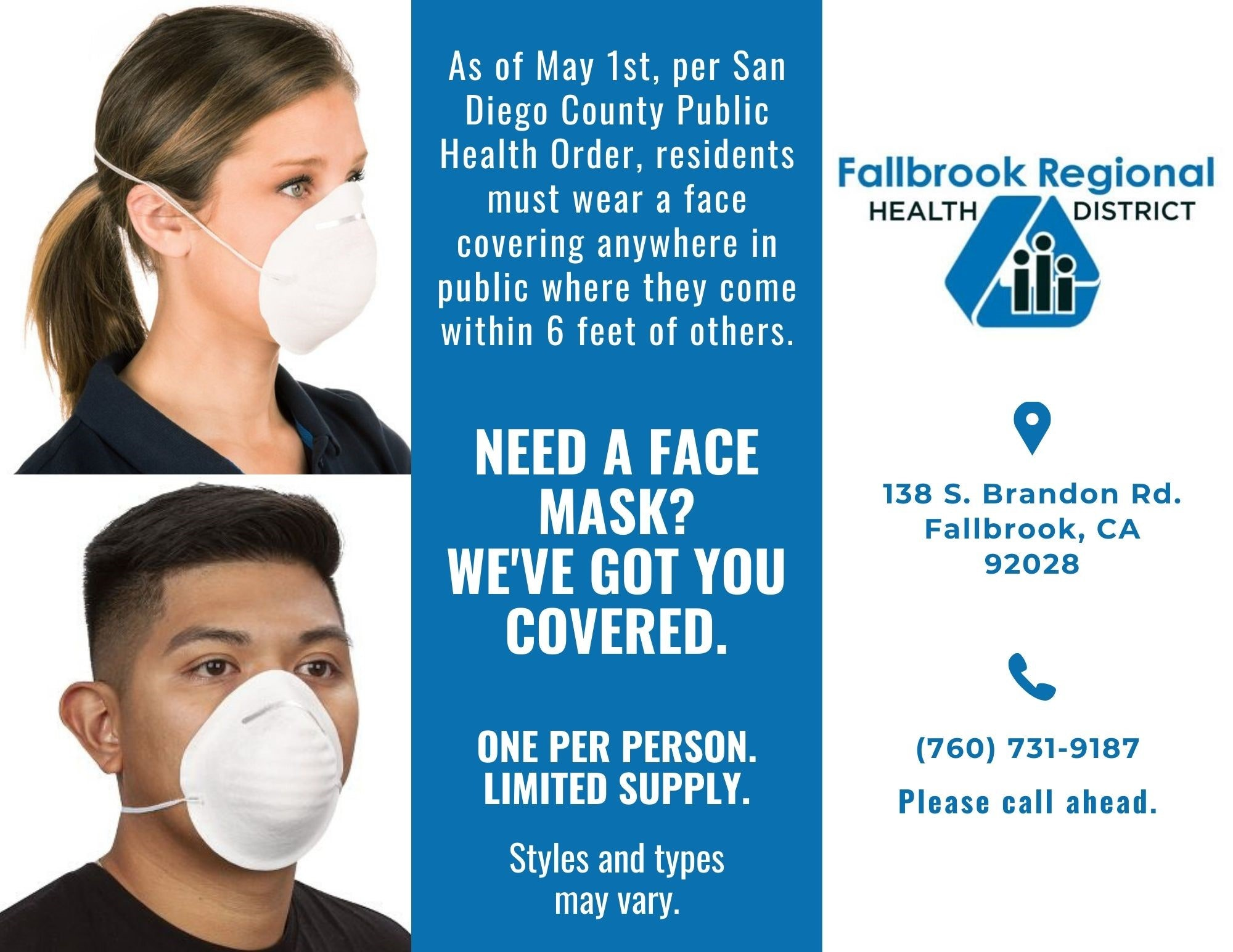 a picture of a man and woman with dust masks. Flyer promoting free face masks from the fallbrook regional health district at 138 s. brandon rd. one per person. while supplies lasts. styles may vary. call ahead at 7607319187