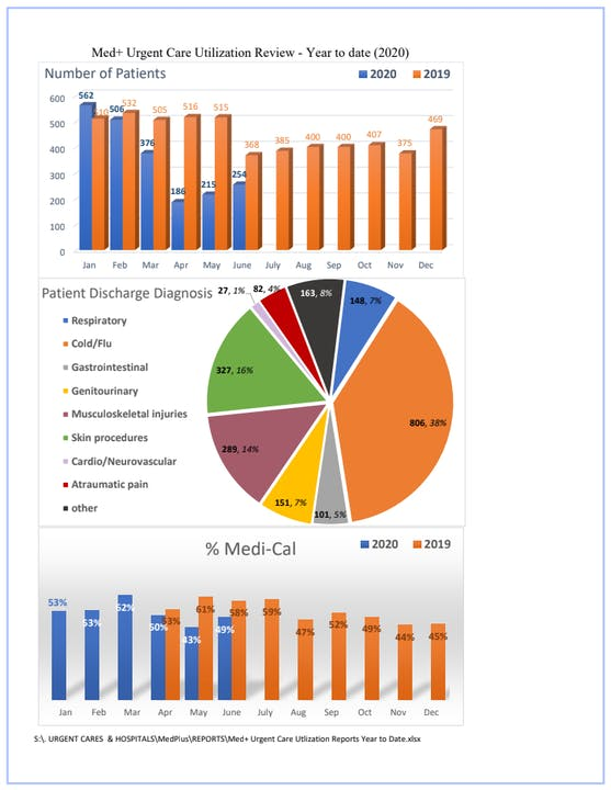 Graphs of patients seen year to date 2020 vs. 2019: pie chart of discharge diagnosis and bar graph of patients seen using Medi-Cal by month in 2020 and 2019.