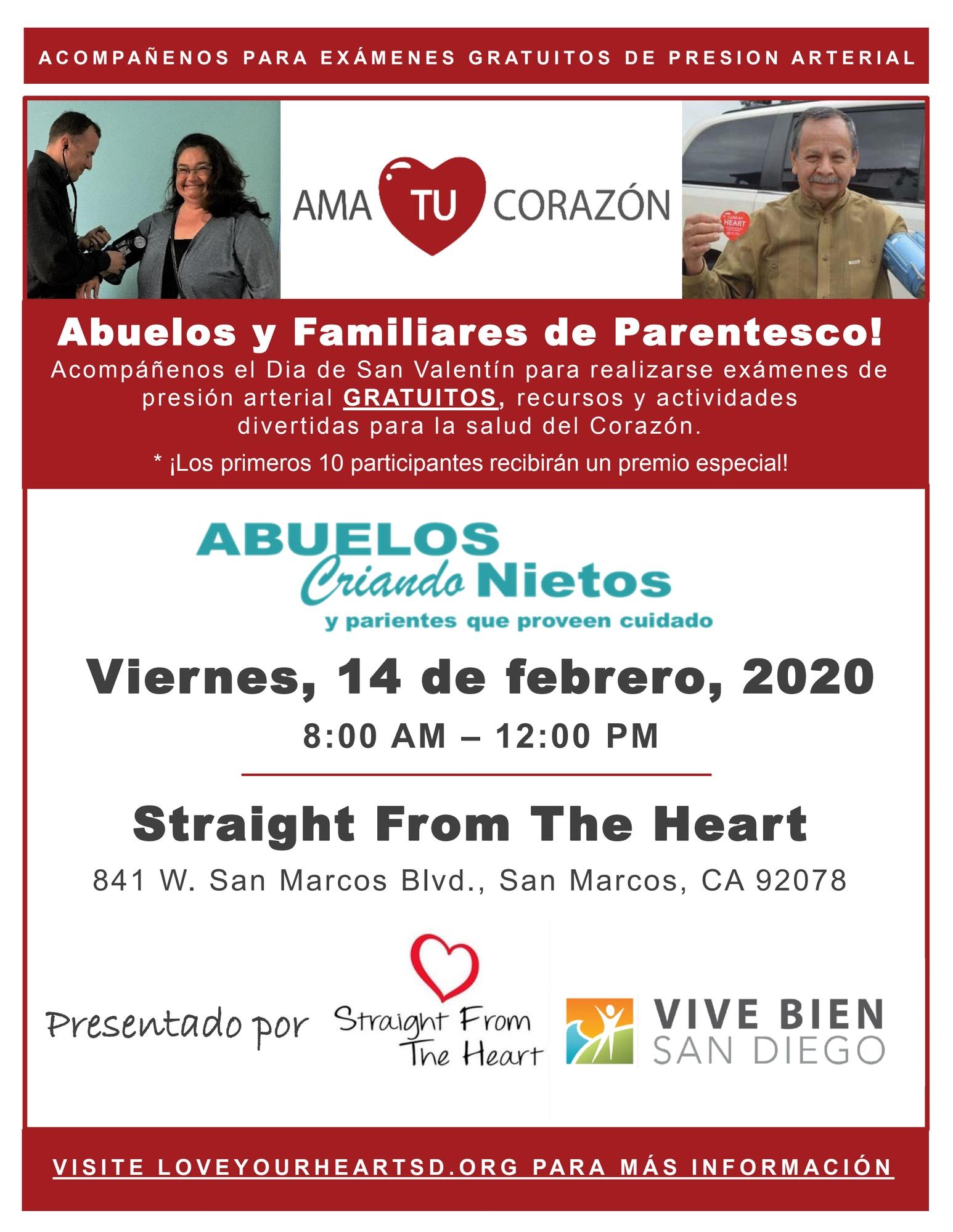 Abuelos Criando Nietos Straight from the Heart evento. Viernes, febrero 14. 8am-12pm Los primeros 10 participantes recibiran un premio especial.