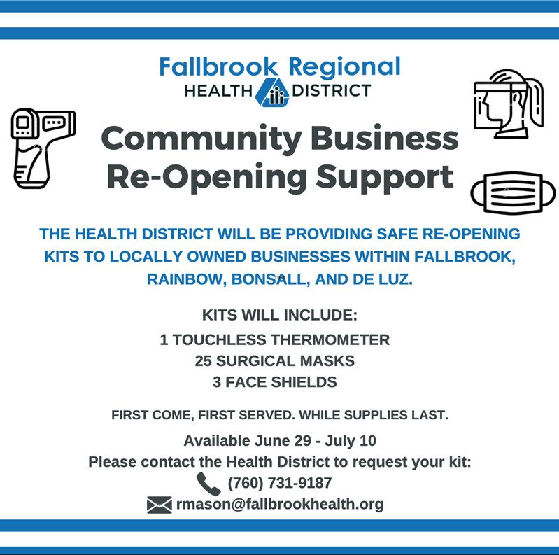 Community Business Re-Opening Support Kits available June 29 to July 10 on first come, first served basis. Contact 760-731-9187.