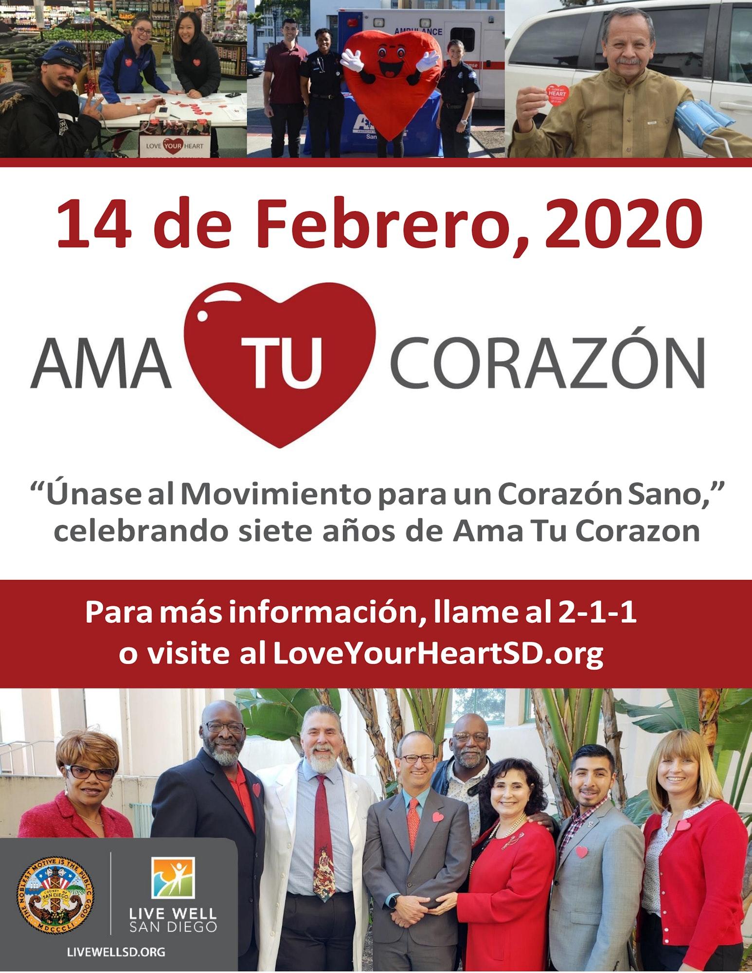 Anuncio de Ama tu Corazon, 14 de febrero 2020. Para mas informacion visite loveyourheartsd.org o llame al 2-1-1