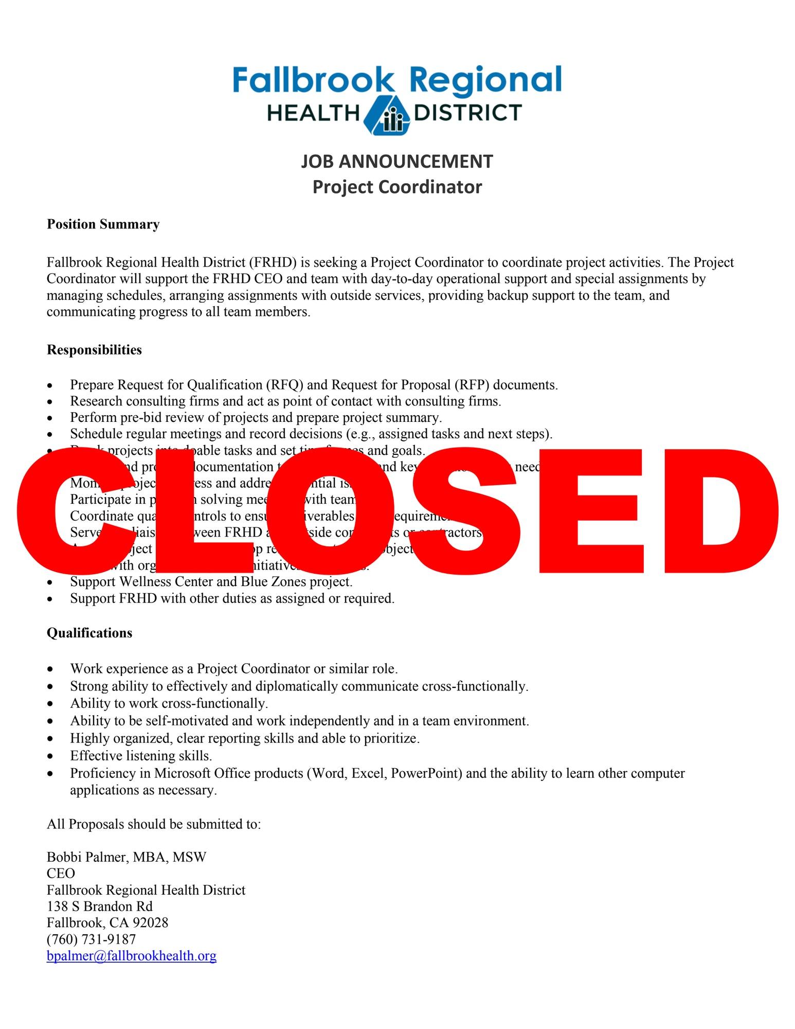 job announcement closed for project coordinator fallbrook regional
