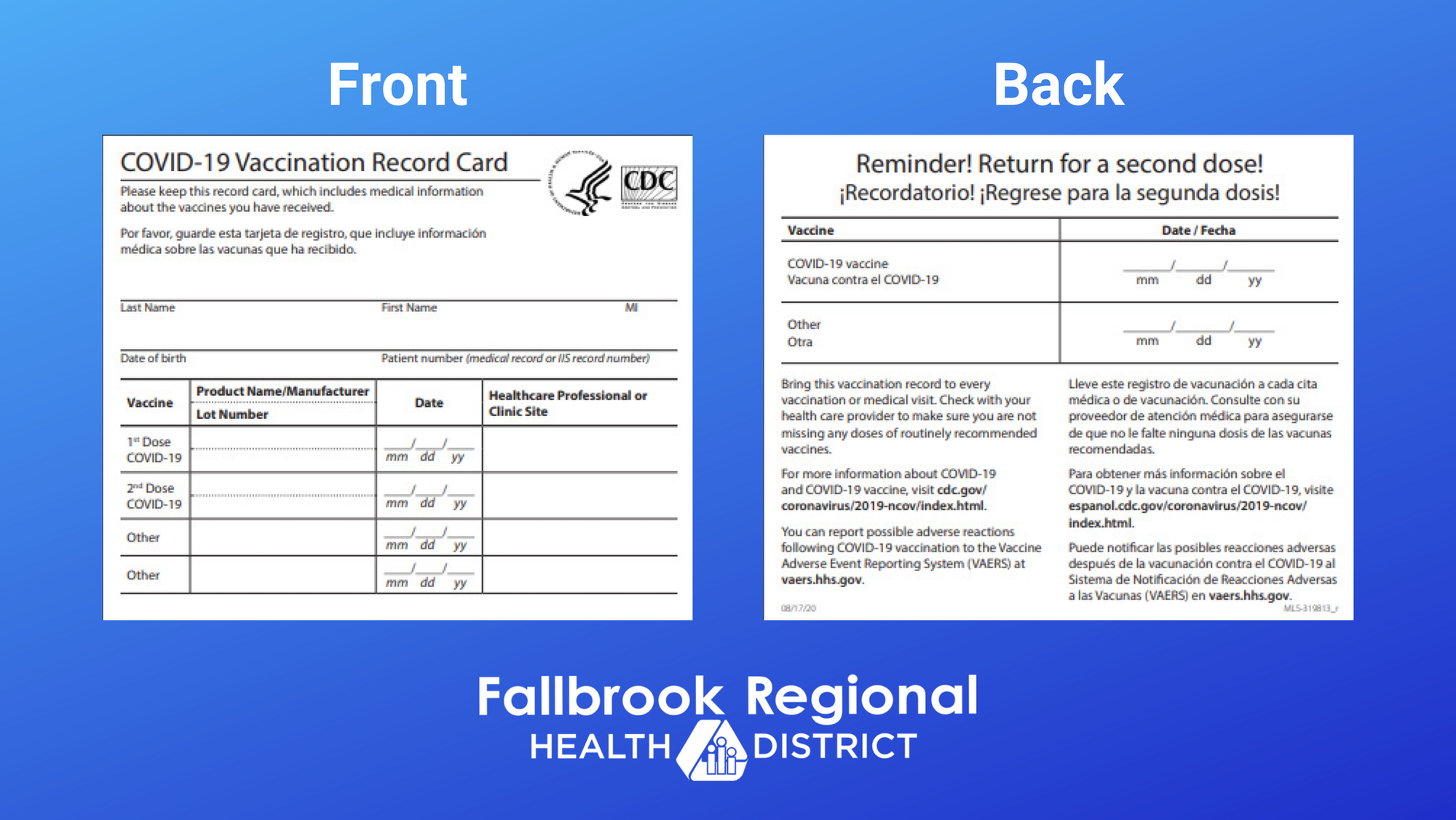 picture of front and back of COVID-19 vaccination record card