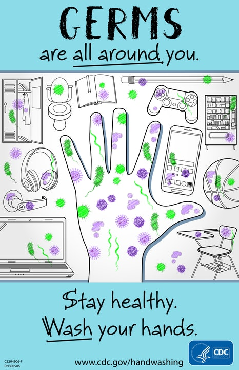 Sketch image of hand and other household items with purple and green germs. Message is: germs are all around you. Stay Health. Wash your hands.