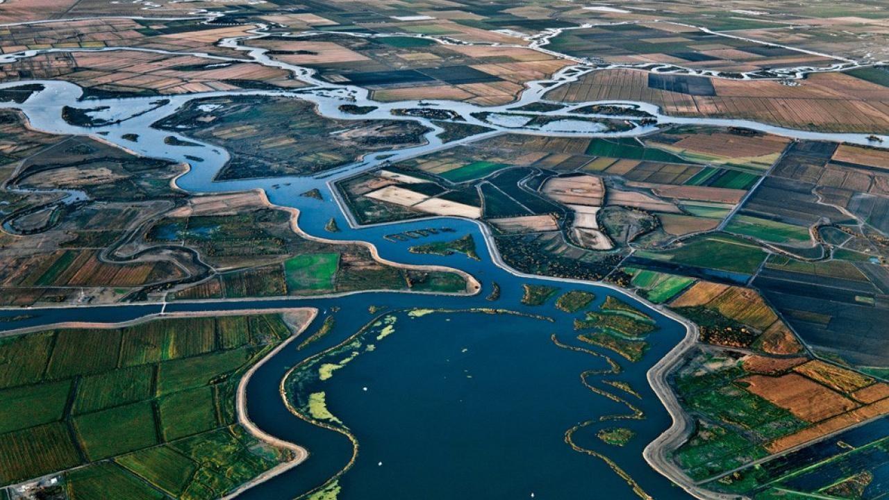Aerial view of Delta - credit: https://regionalchange.ucdavis.edu/news/economic-indicators-sacramento-san-joaquin-river-delta