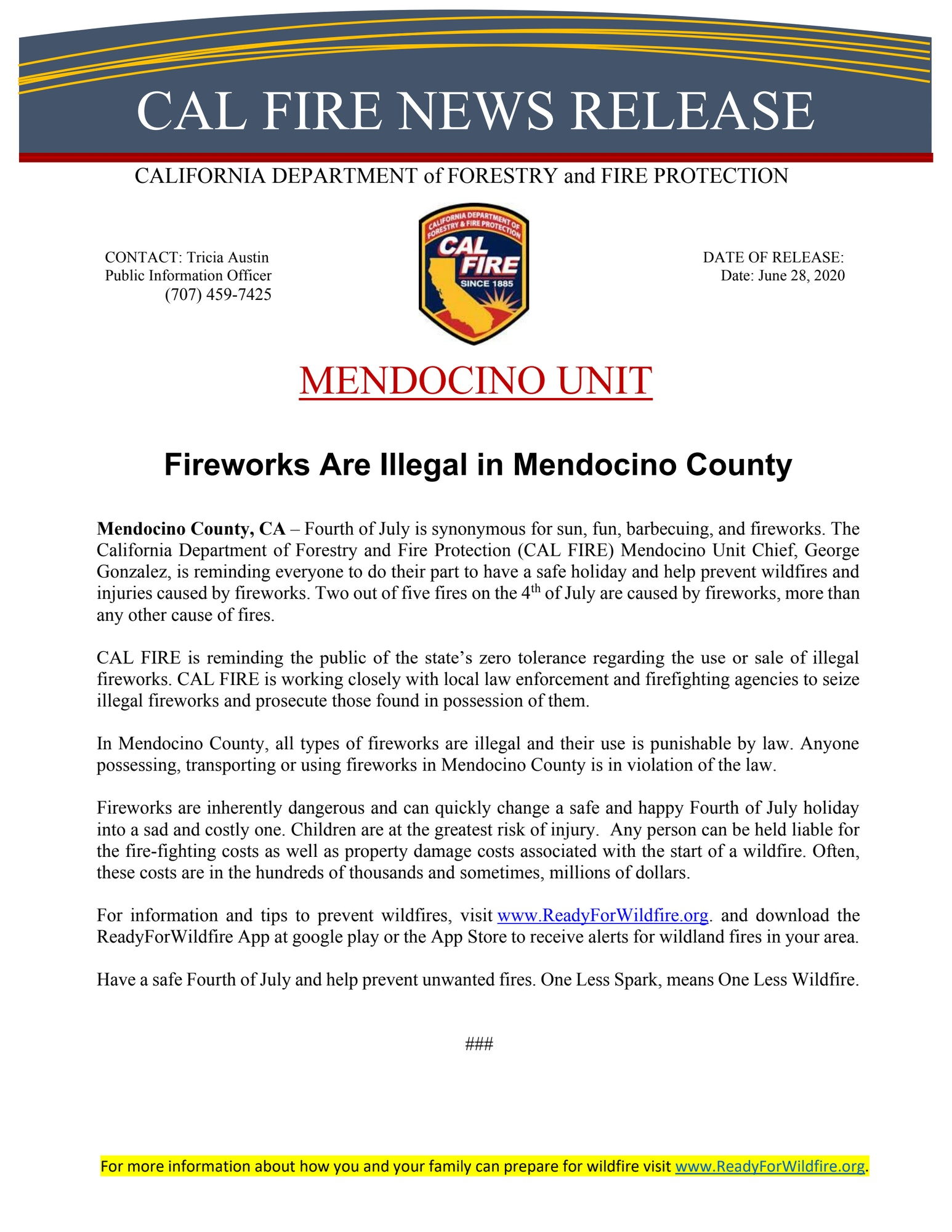 Fireworks Illegal in Mendocino County Press Release from CalFire