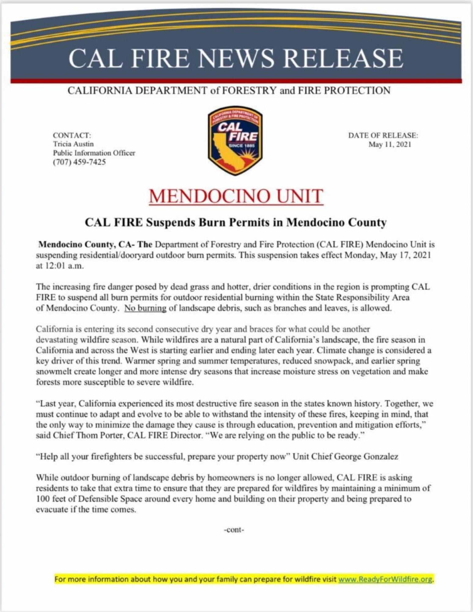 CalFire News Release regarding Burn Permit Suspension